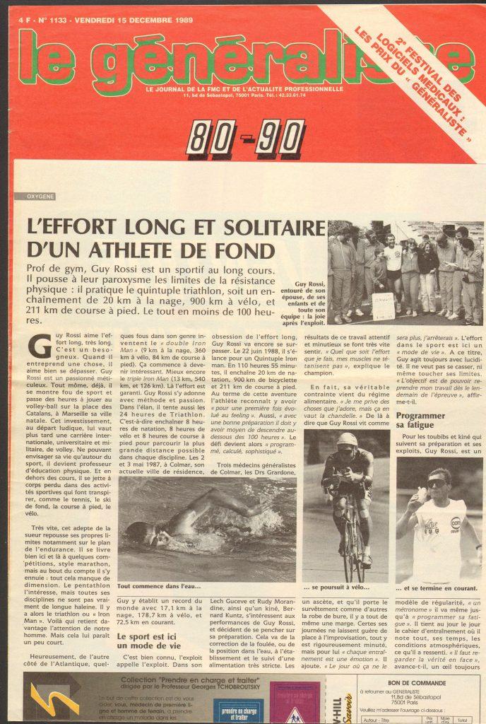 Le Généraliste du 15 décembre 1989 – l'effort long et solitaire d'un athlète de fond