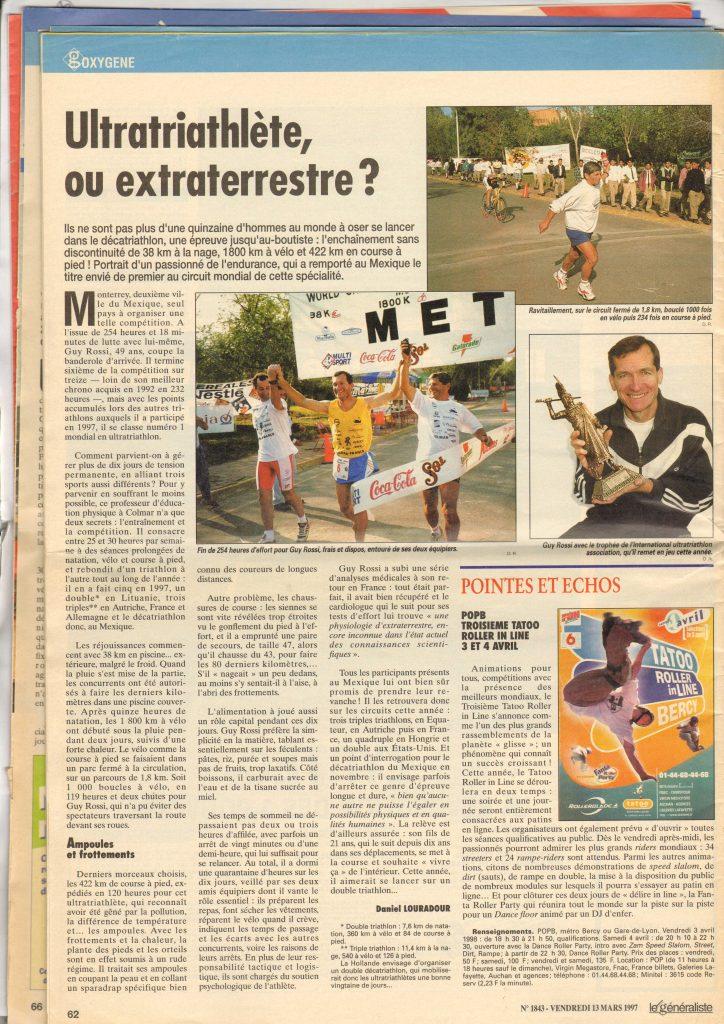 Le Généraliste du 13 mars 1997 – Ultratriathlète ou extraterrestre