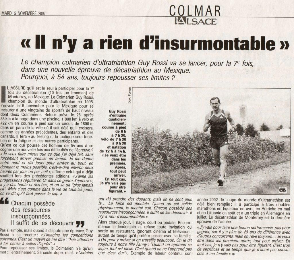 L'Alsace du 05 novembre 2002, Il n'y a rien d'insurmontable