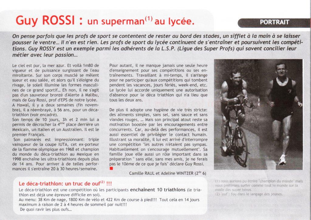 magazine du Lycée Blaise Pascal de décembre 2004, Guy Rossi: un superman au lycée