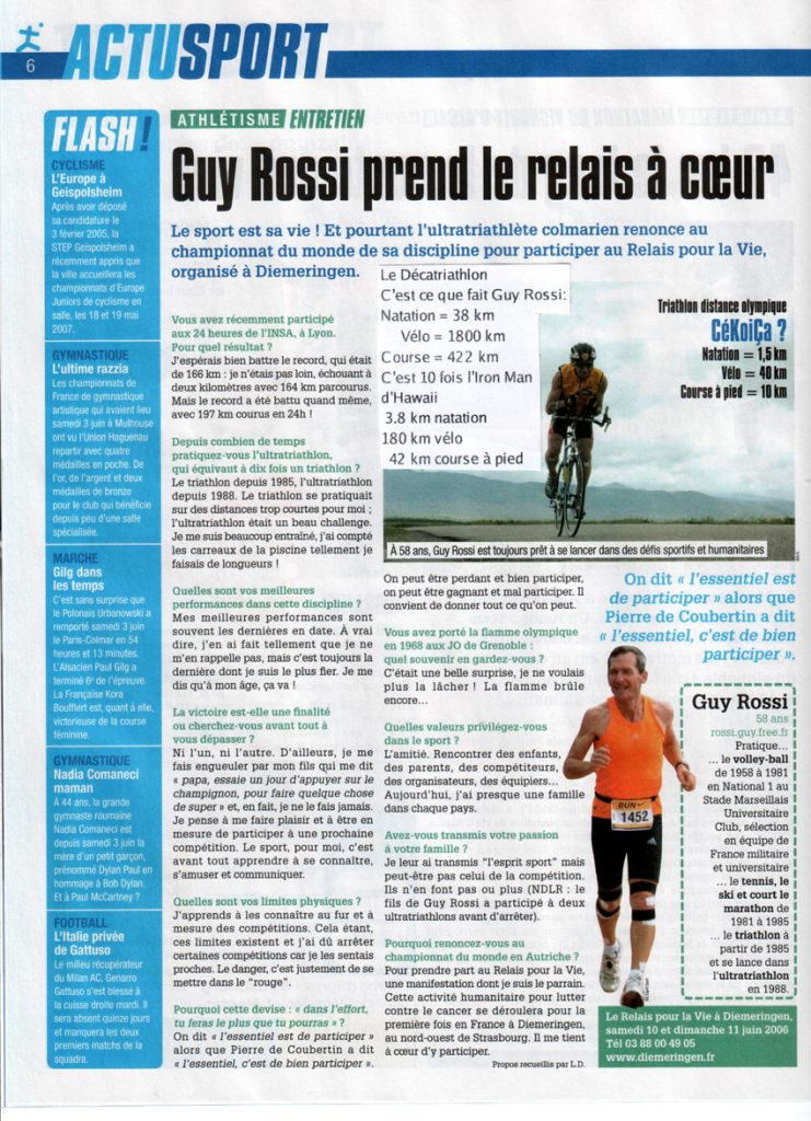 L'Esprit Sport du mois de juin 2006, Guy Rossi prend le relais à coeur