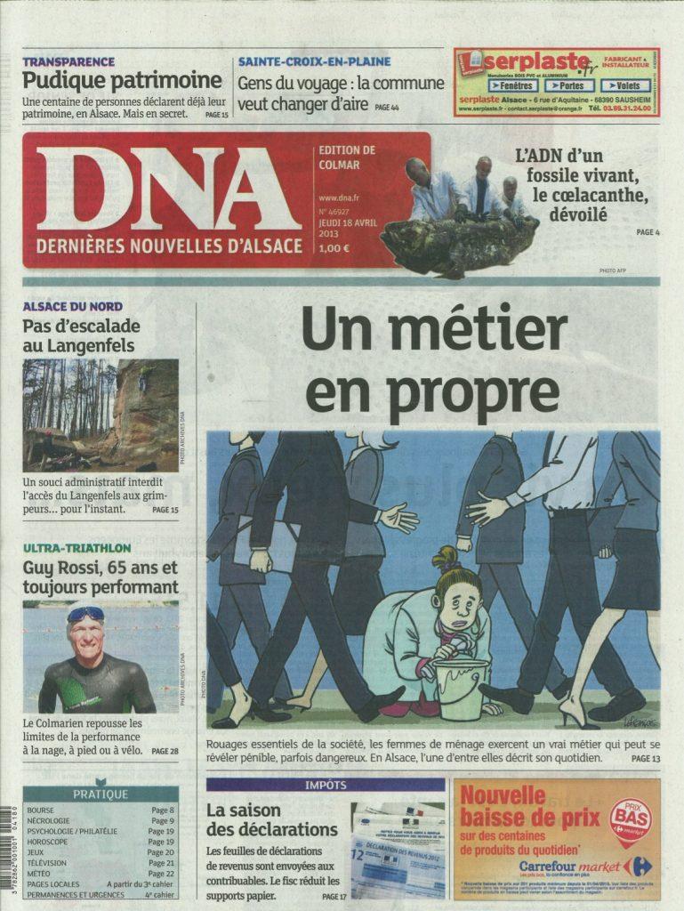 Les DNA du 18 avril 2013, première page