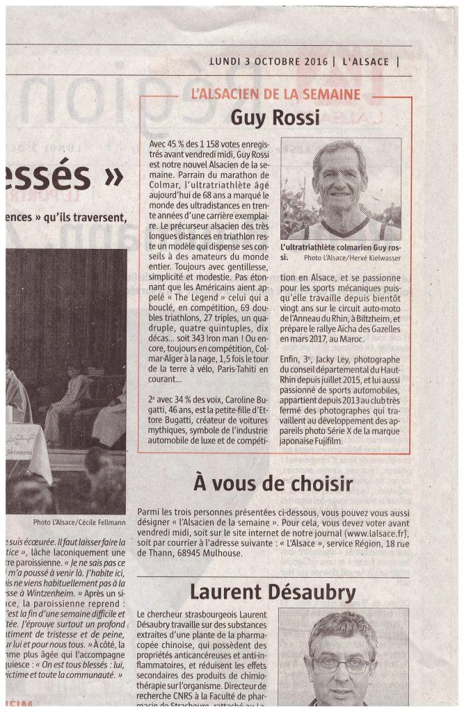 l'Alsace du lundi 3 octobre 2016, L'alsacien de la semaine