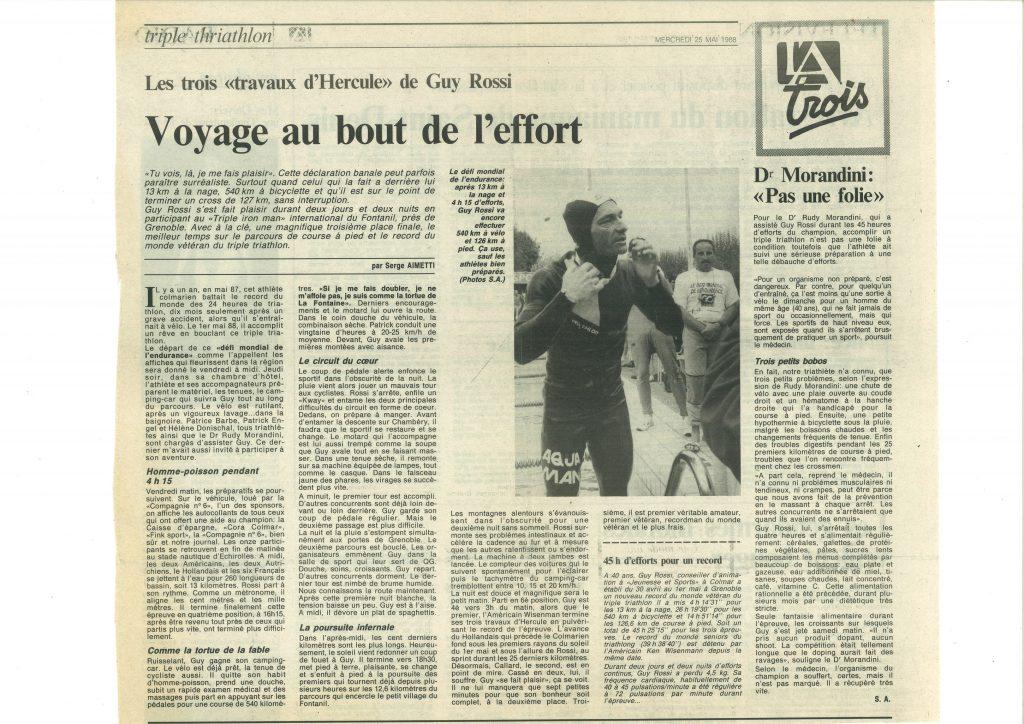 L'Alsace du 25 mai 1988, Voyage au bout de l'effort
