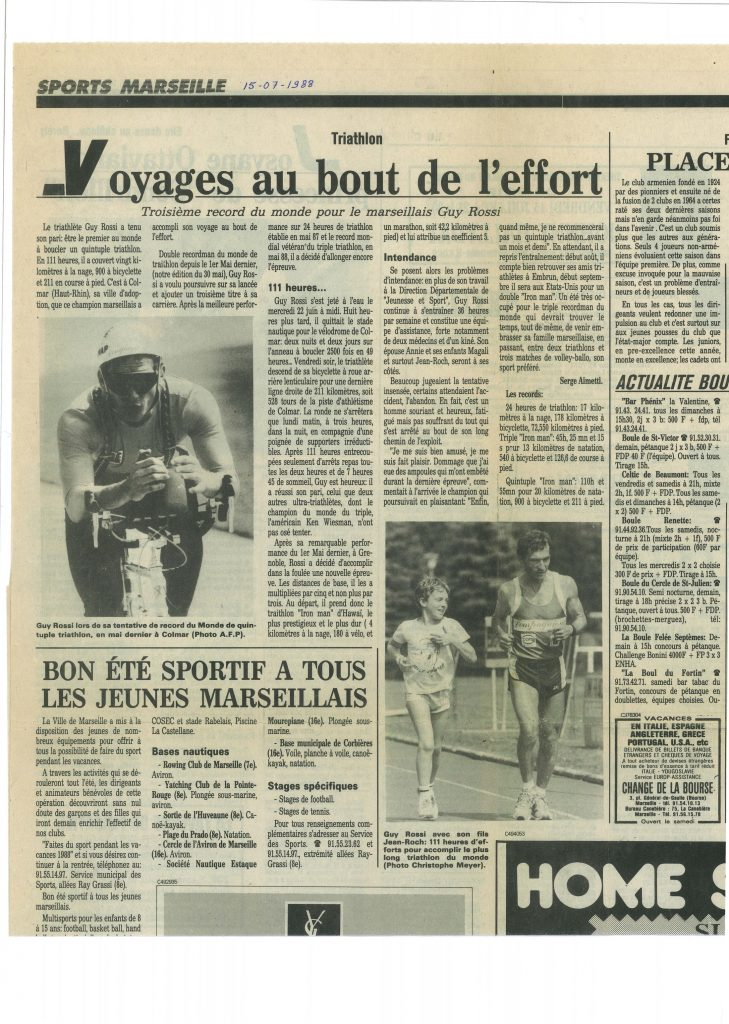 Le Provencal du 15 juillet 1988, Voyages au bout de l'effort