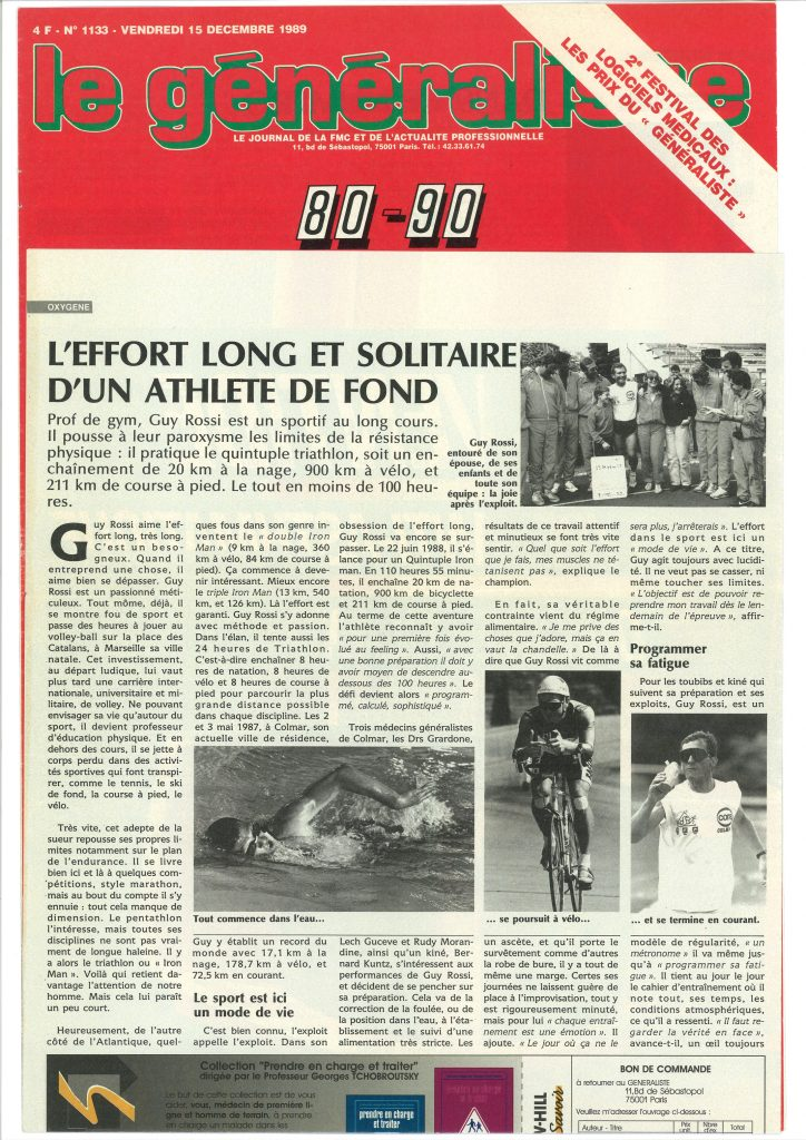 Le Généraliste du 15 décembre 1989, l'effort long et solitaire d'un athlète de fond