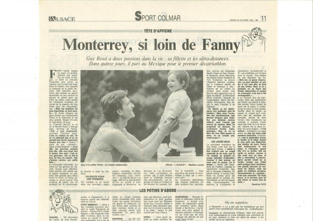 L'Alsace du 20 novembre 1992, Monterrey si loin de Fanny