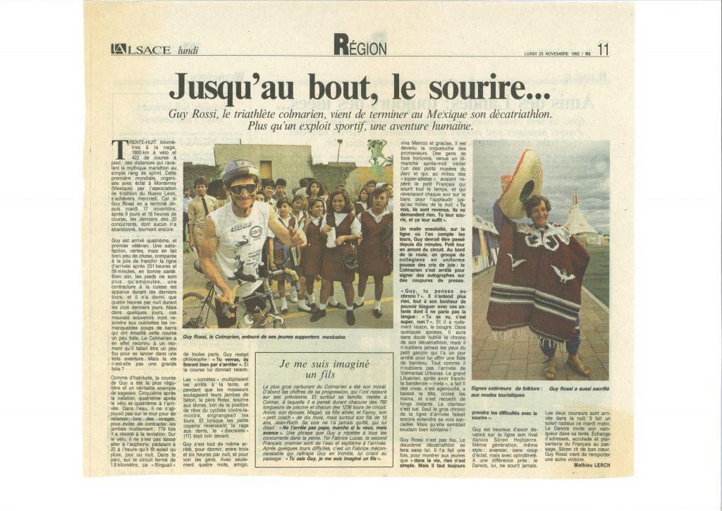L'Alsace du 23 novembre 1992, Jusqu'au bout le sourire