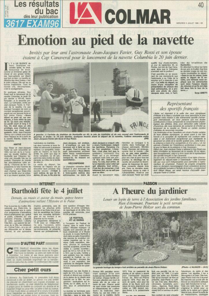 L'Alsace du 03 juillet 1996, Émotion au pied de la navette