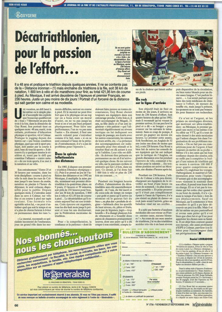 Le Généraliste du 27 septembre 1996, Décatriathlonien pour la passion de l'effort