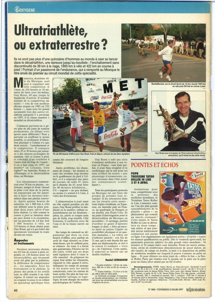 Le Généraliste du 13 mars 1997, Ultratriathlète ou extraterrestre ?