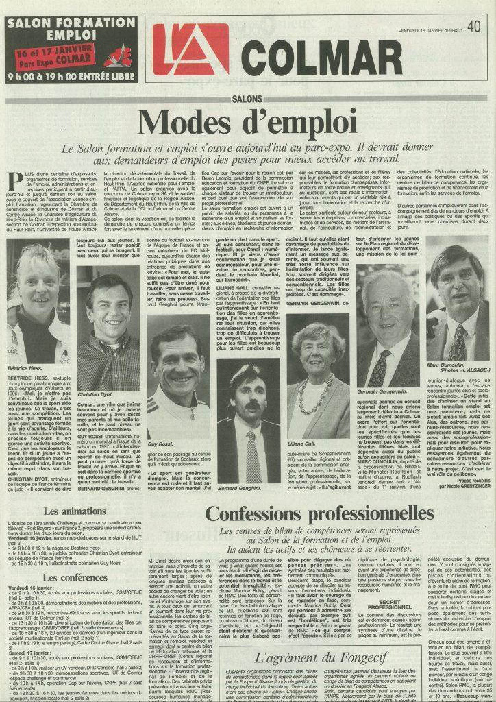 L'Alsace du 16 janvier 1998, Modes d'emploi