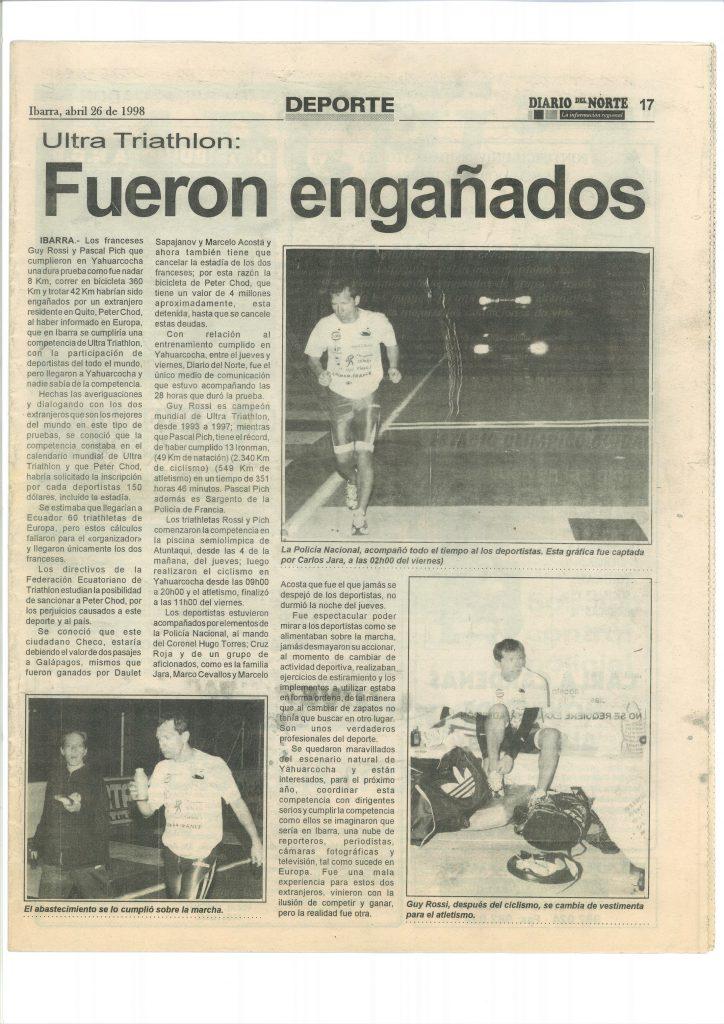 Diario del Norte (Equateur) du 26 avril 1998, Fueron enganados