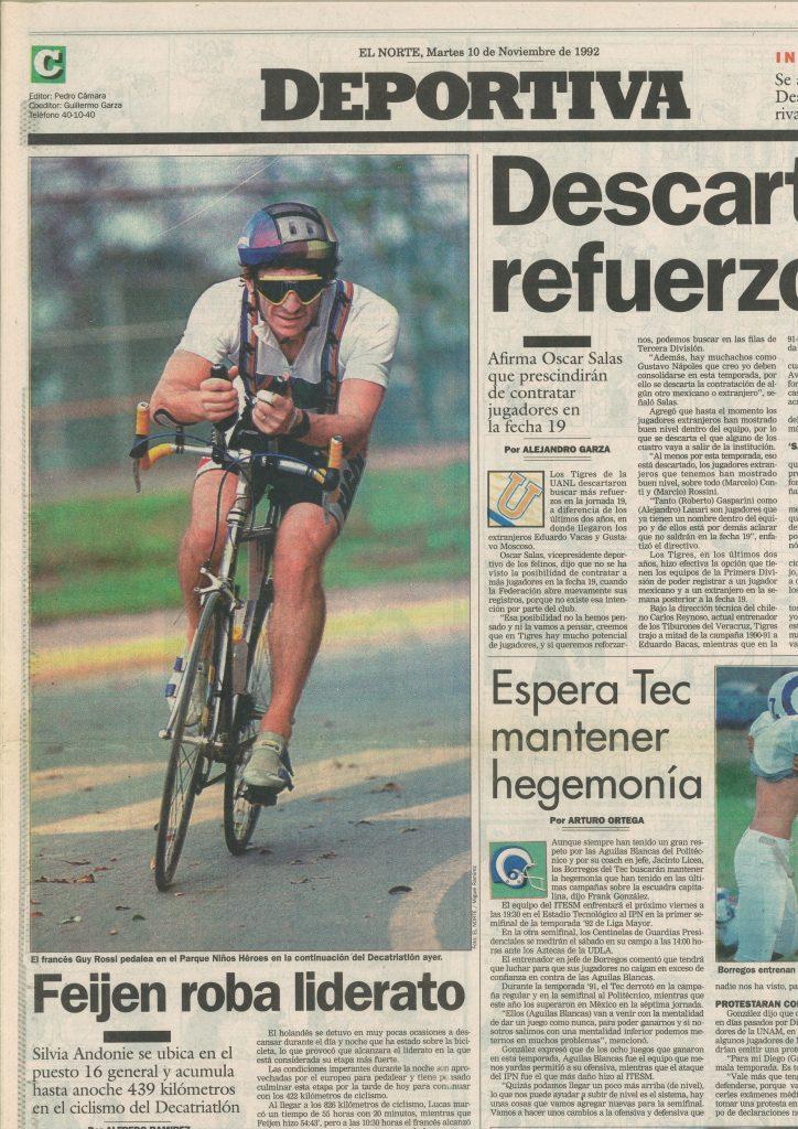 El Norte (Mexique) du 10 novembre 1998, El frances Guy Rossi pedalea en el parque ninos heroes