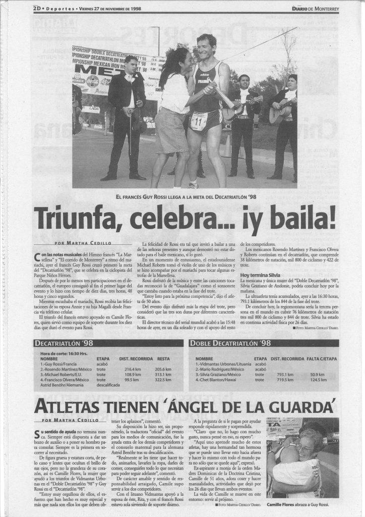 El diario de Monterrey (Mexique) du 27 novembre 1998, Triunfa celebra iy baila!