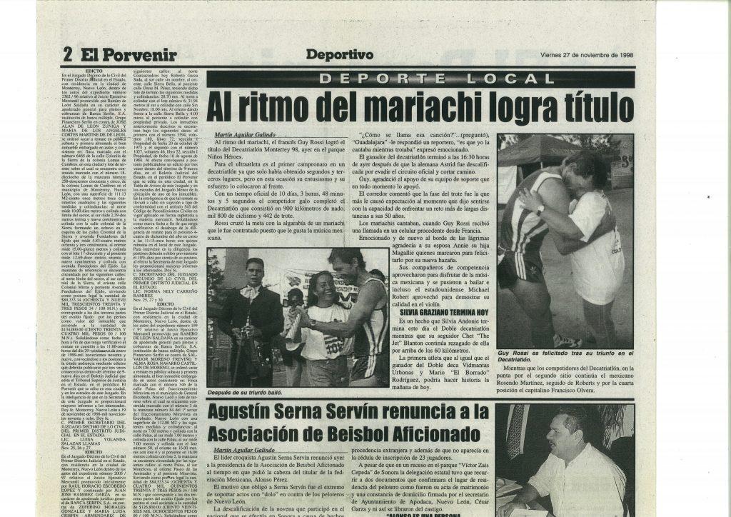El Porvenir (Mexique) du 27 novembre 1998, Al ritmo del mariachi logra titulo