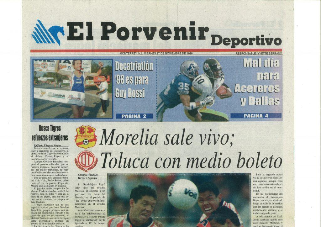 El Porvenir (Mexique) du 27 novembre 1998, Decatriatlon 98 es para Guy Rossi
