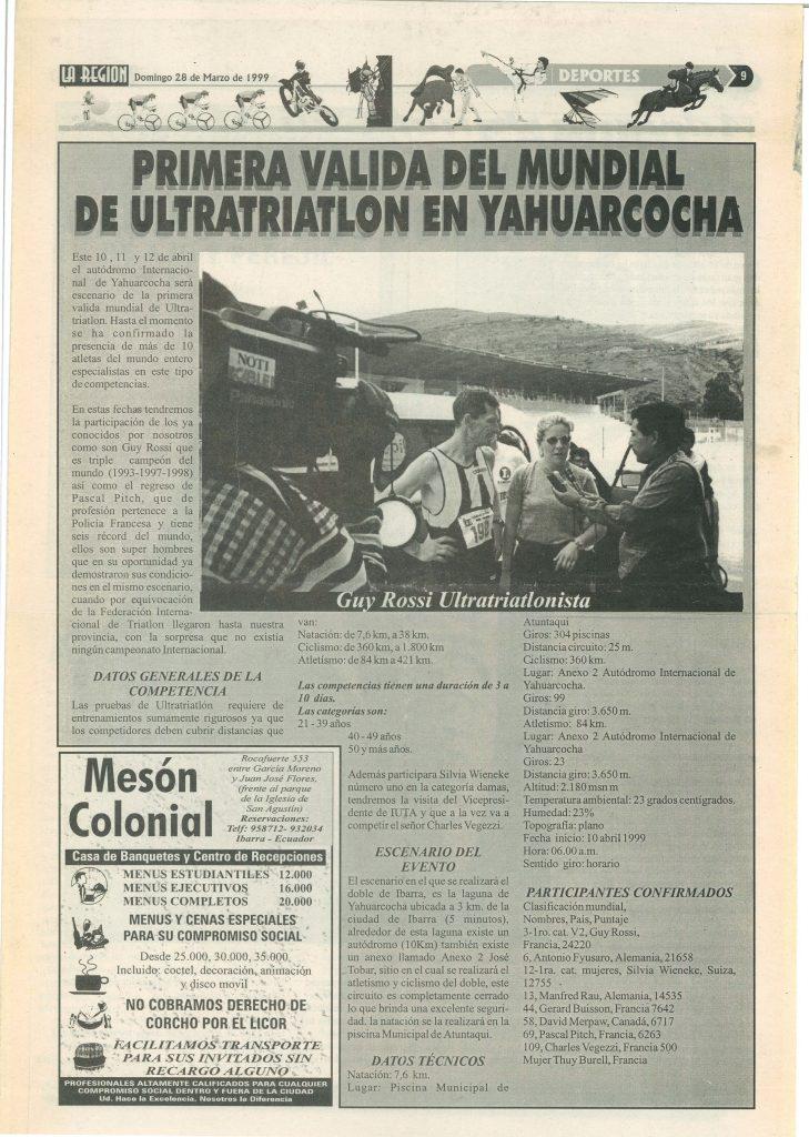 La Region (Equateur) du 28 mars 1999, Primera valida del mundial de ultratriatlon en yahuarcocha