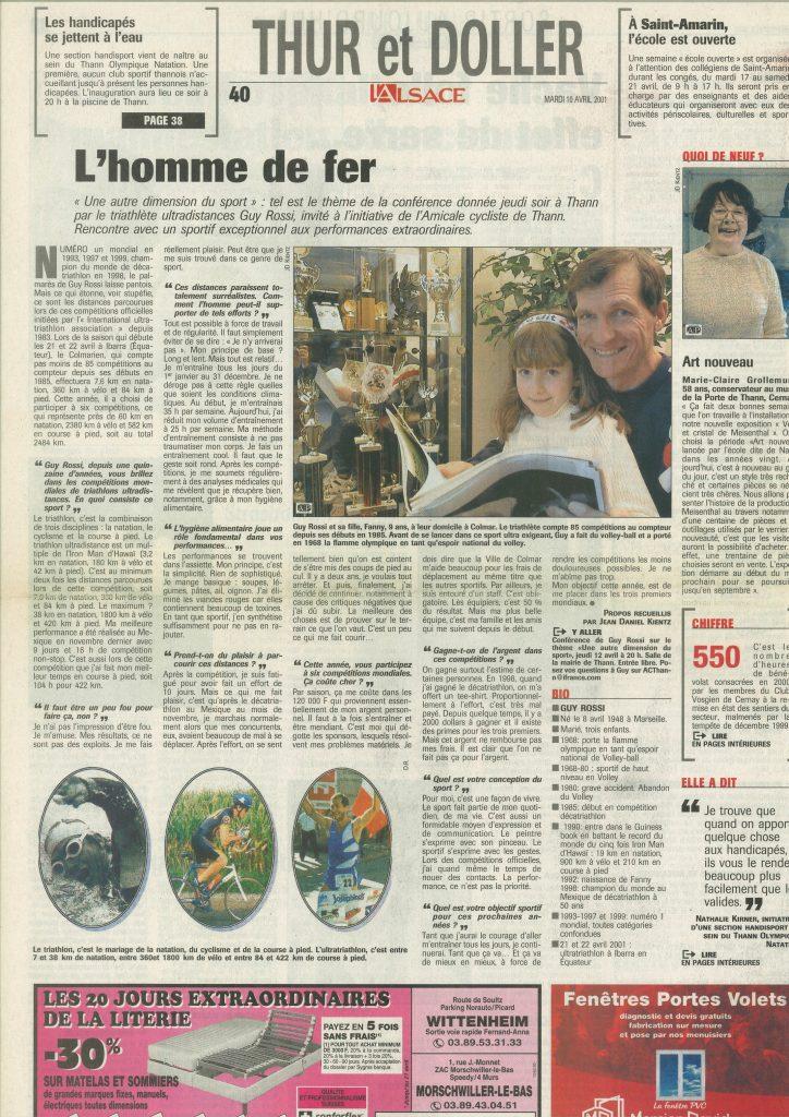 L'Alsace du 10 avril 2001, L'homme de fer