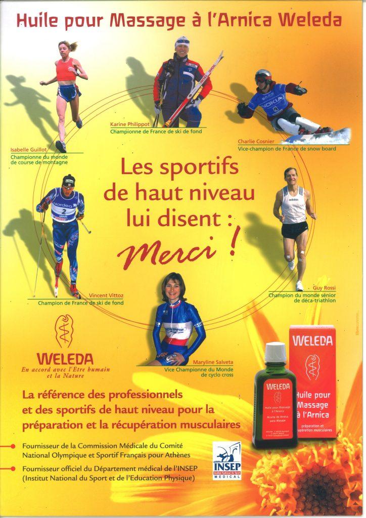Poster de Weleda en 2003, les sportif et l'huile à l'Arnica