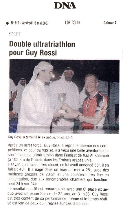 Les DNA du 18 mai 2007, Double ultratriathlon pour Guy Rossi (à Dubai)
