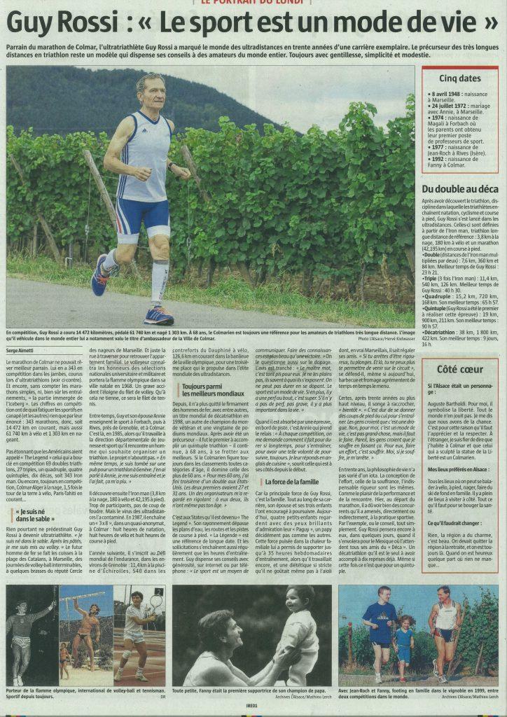L'Alsace du 19 septembre 2016, Guy Rossi le sport est un mode de vie