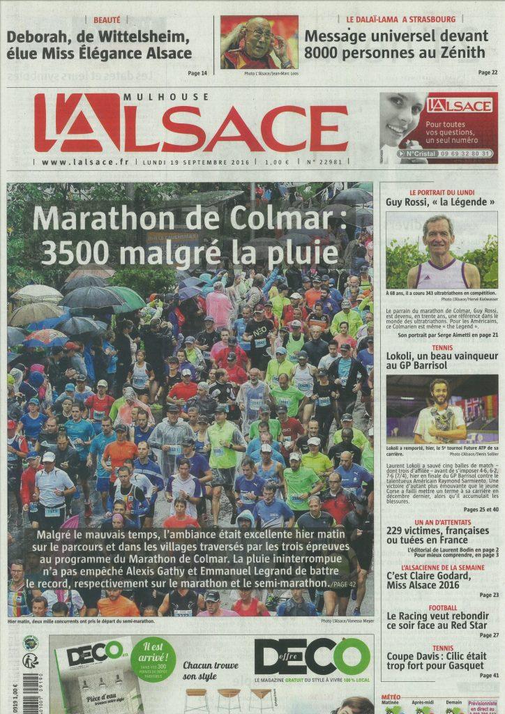 L'Alsace du 19 septembre 2016, Première page
